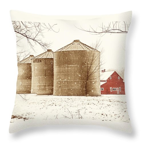 Americana Throw Pillow featuring the photograph Red Barn In Snow by Marilyn Hunt