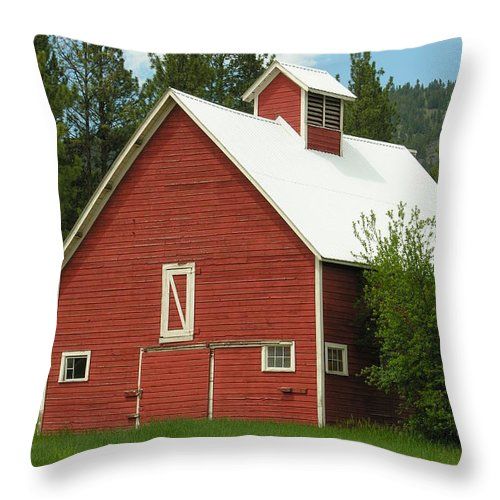 Red White Throw Pillow featuring the photograph Red Barn Montana by Diane Greco-Lesser