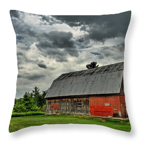 Red Throw Pillow featuring the photograph Red Barn by Tim Wilson