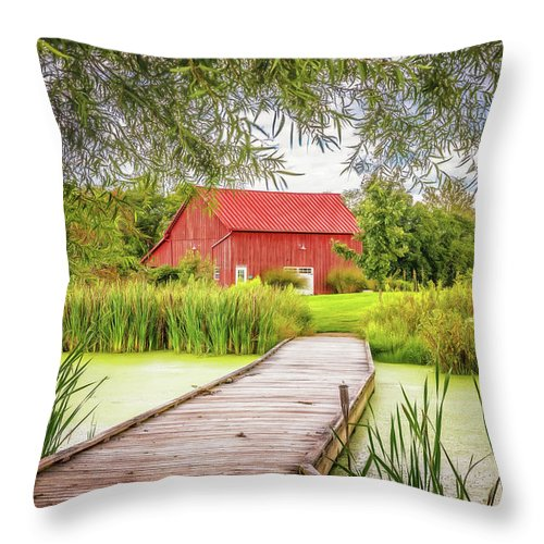 Dawes Throw Pillow featuring the photograph Red Barn by Tom Mc Nemar