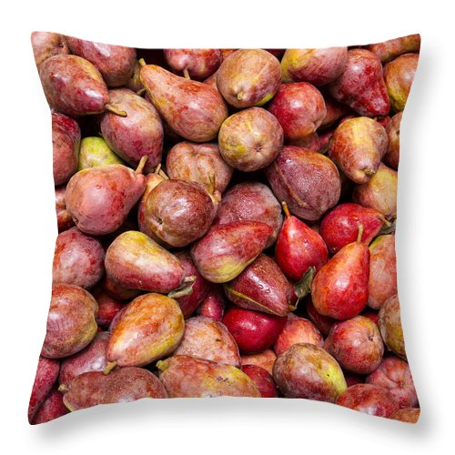 Fruit Throw Pillow featuring the photograph Red Bartlett Pears by John Trax