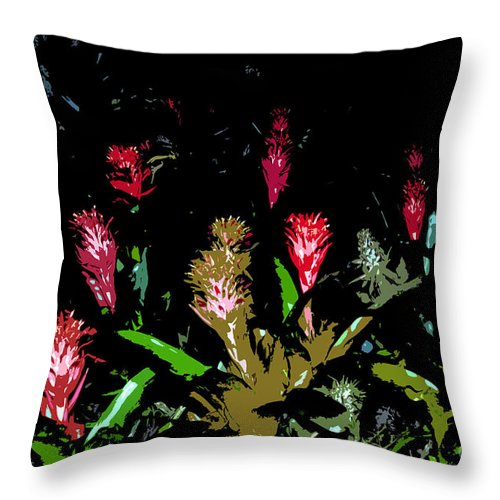 Red Throw Pillow featuring the painting Red Blooms by David Lee Thompson