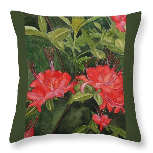 Flowers Throw Pillow featuring the painting Red Blooms on the Parkway by Jean Blackmer