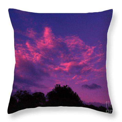 Night Scape Throw Pillow featuring the photograph Red Blue Sky by Greg Patzer