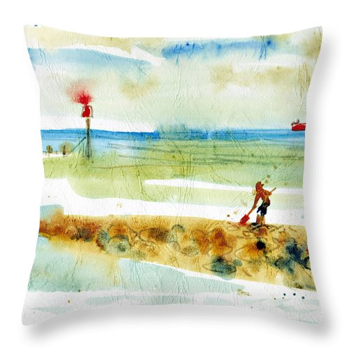 Throw Pillow featuring the painting Red Boat In Norfolk by Alexandra Cook