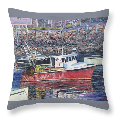 Boat Throw Pillow featuring the painting Red Boat Reflections by Richard Nowak