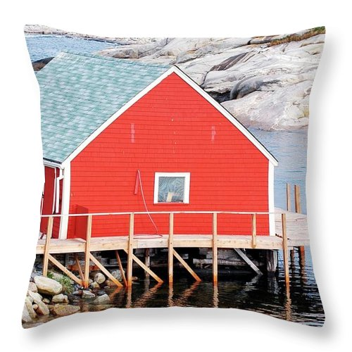 Red Throw Pillow featuring the photograph Red Boathouse by Kathleen Struckle