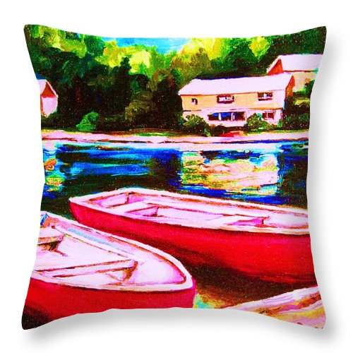 Red Boats Throw Pillow featuring the painting Red Boats At The Lake by Carole Spandau
