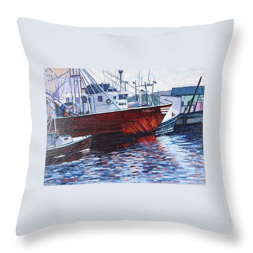 Boats Throw Pillow featuring the painting Red Boats by Richard Nowak