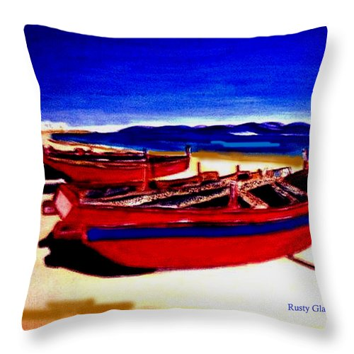 Boats Throw Pillow featuring the painting Red Boats by Rusty Gladdish