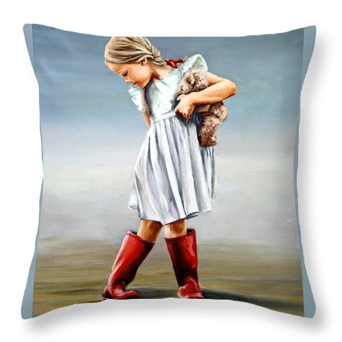 Girl Throw Pillow featuring the painting Red Boots by Natalia Tejera