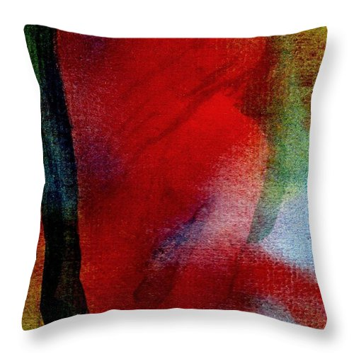 Nude Throw Pillow featuring the painting Red Boudoir by Susan Kubes
