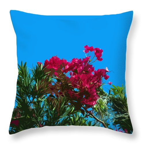 Red Throw Pillow featuring the painting Red Bougainvillea Glabra Vine In Juniperus Virginiana Tree In Co by Allan Hughes