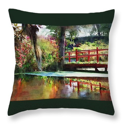 Red Bridge Throw Pillow featuring the photograph Red Bridge by Donna Bentley