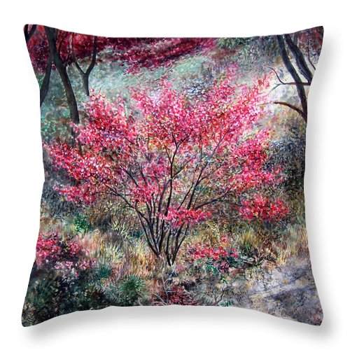Landscape Throw Pillow featuring the painting Red Bush by Valerie Meotti