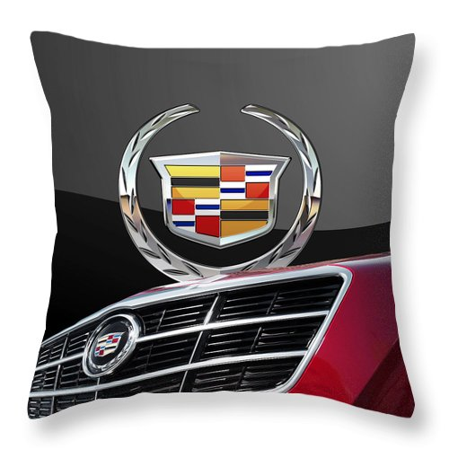 'auto Badges' By Serge Averbukh Throw Pillow featuring the photograph Red Cadillac C T S - Front Grill Ornament and 3D Badge on Black by Serge Averbukh