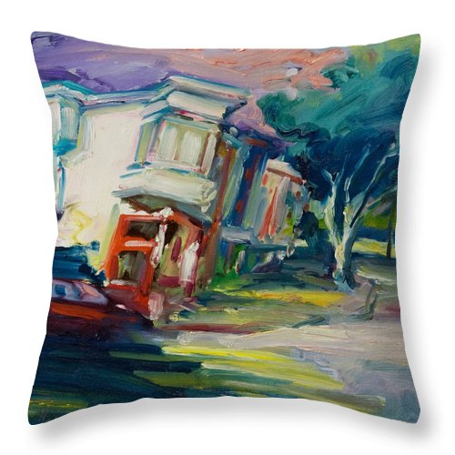 Trees Throw Pillow featuring the painting Red Cafe by Rick Nederlof
