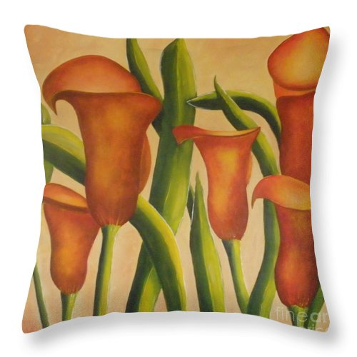 Calla Throw Pillow featuring the painting Red Callas by Jeanie Watson