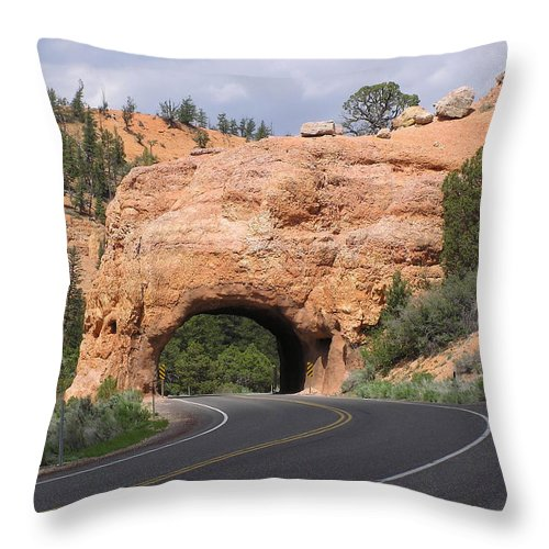 Tunnel Throw Pillow featuring the photograph Red Canyon Tunnel by Louise Magno