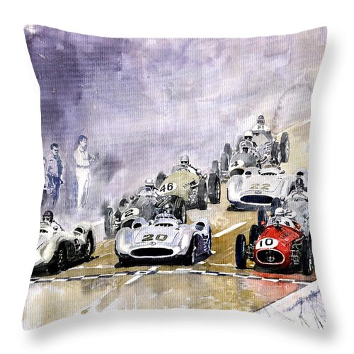 Watercolour Throw Pillow featuring the painting 1954 Red Car Maserati 250 France Gp by Yuriy Shevchuk
