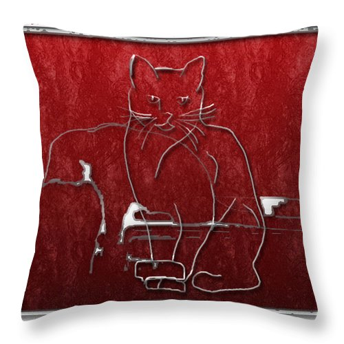 Cats Throw Pillow featuring the digital art Red Cats by Arline Wagner