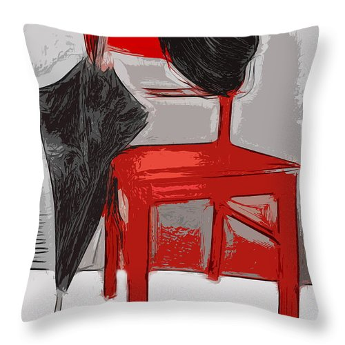 Chair Throw Pillow featuring the photograph Red Chair by Manfred Lutzius