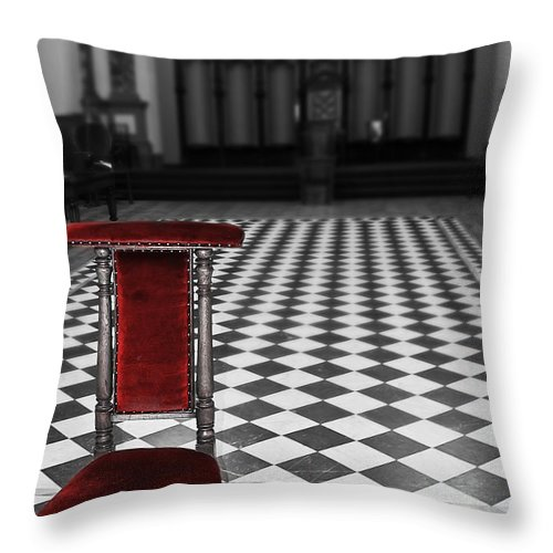 Beamish Throw Pillow featuring the photograph Red Chair by Svetlana Sewell