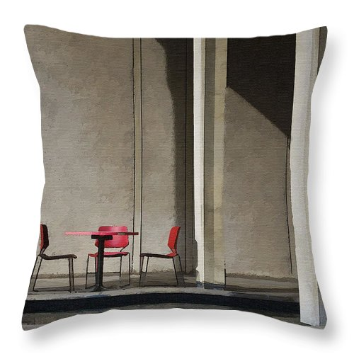 Architecture Throw Pillow featuring the photograph Red Chairs by Sharon Foster