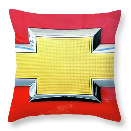 Red Chevy Bowtie Throw Pillow