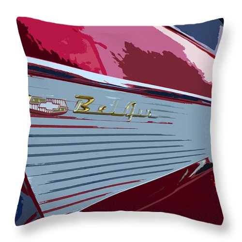 Chevy Throw Pillow featuring the painting Red Chevy by David Lee Thompson