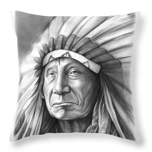 Red Cloud Throw Pillow featuring the drawing Red Cloud by Greg Joens