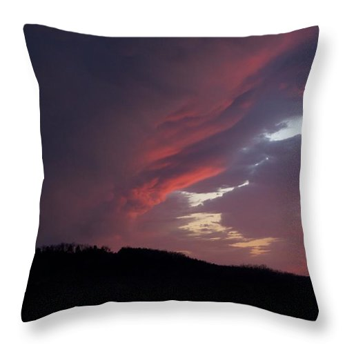 Red Clouds Throw Pillow featuring the photograph Red Clouds 2 by Toni Berry