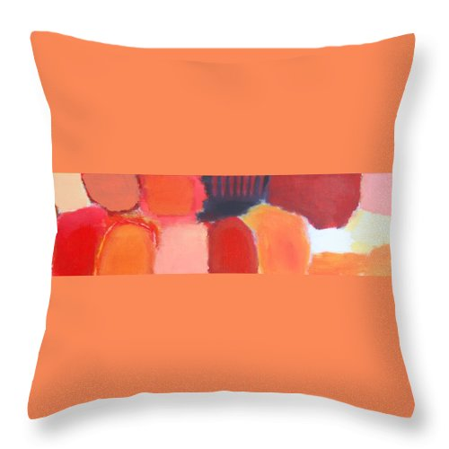 Abstract Throw Pillow featuring the painting Red Combination by Habib Ayat