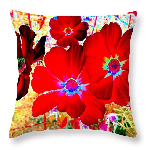 Red Cosmos Throw Pillow featuring the digital art Red Cosmos by Will Borden