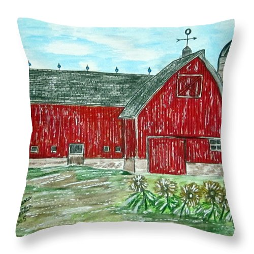 Red Throw Pillow featuring the painting Red Country Barn by Kathy Marrs Chandler