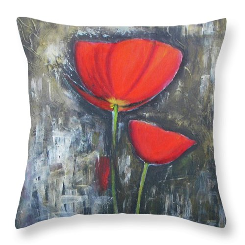 Abstract Throw Pillow featuring the painting Red Couple by Vesna Antic