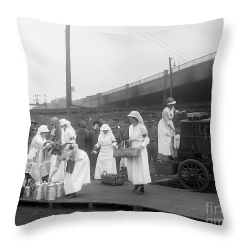 1918 Throw Pillow featuring the photograph Red Cross: Canteen, C1918 by Granger