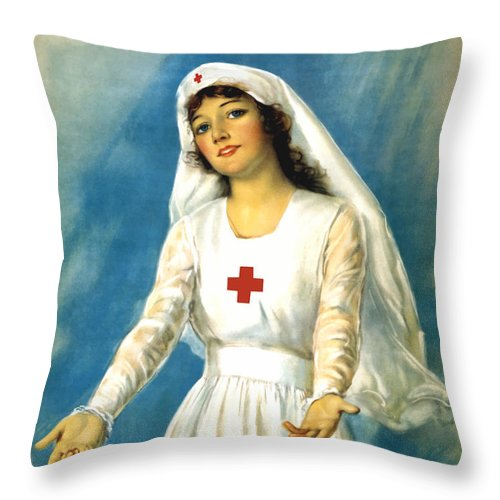 Ww1 Throw Pillow featuring the painting Red Cross Nurse - Ww1 by War Is Hell Store