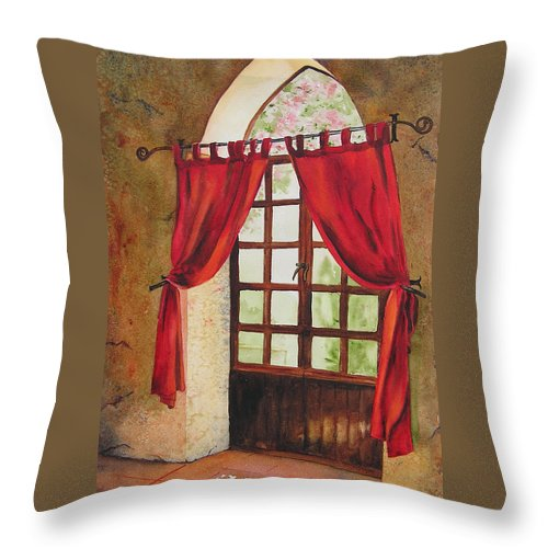 Curtain Throw Pillow featuring the painting Red Curtain by Karen Stark