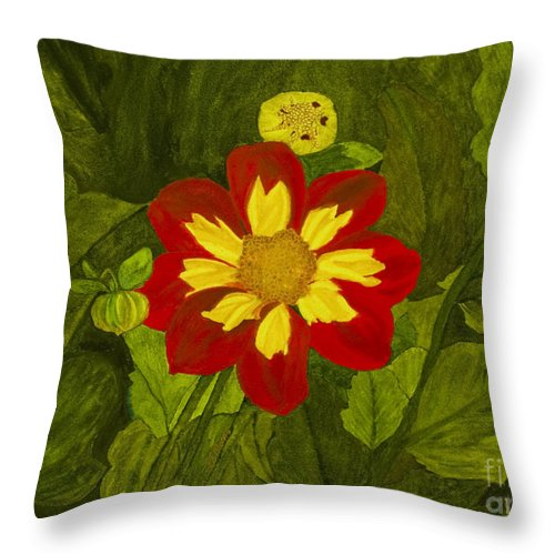 Red Throw Pillow featuring the painting Red Dahlia by Louise Magno