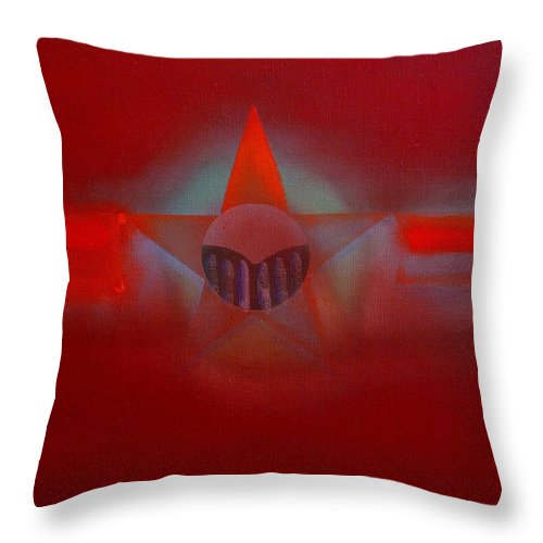 Usaaf Insignia And Idealised Landscape In Union Throw Pillow featuring the painting Red Dawn by Charles Stuart