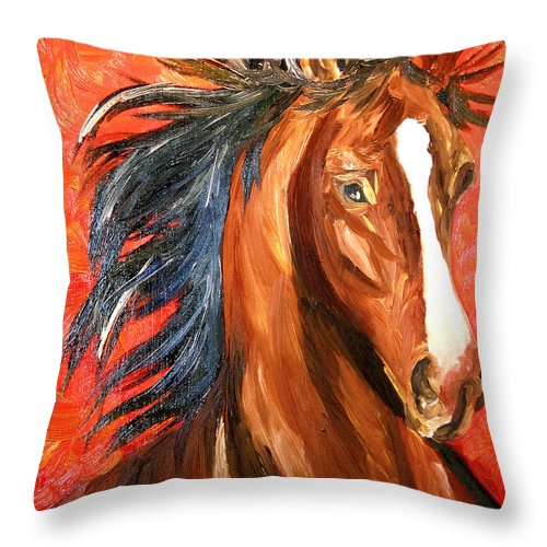 Horse Throw Pillow featuring the painting Red Devil by Michael Lee