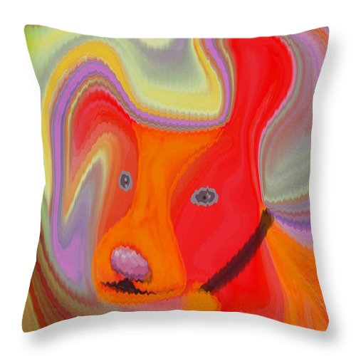 Abstract Throw Pillow featuring the digital art Red Dog by Ruth Palmer