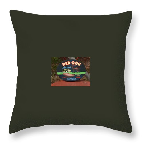 Red Dog Throw Pillow featuring the painting Red Dog Sweet Potatoes by Racquel Morgan
