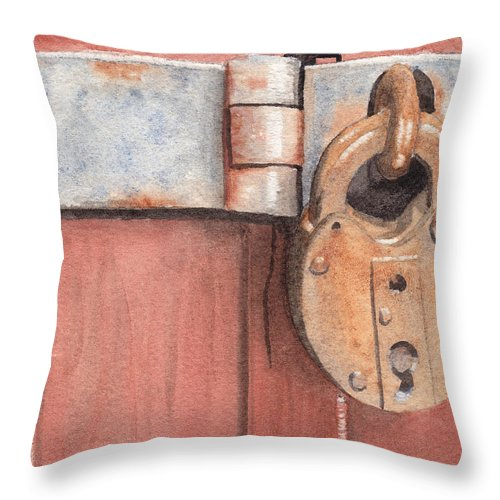 Lock Throw Pillow featuring the painting Red Door And Old Lock by Ken Powers