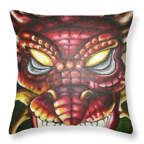 Dragon Throw Pillow featuring the painting Red Dragon by Ashley Warbritton