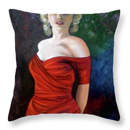 M.monroe Throw Pillow featuring the painting Red Dress by Jose Manuel Abraham