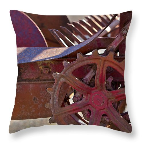 Wheel Throw Pillow featuring the photograph Red Drive Cog by Phyllis Denton
