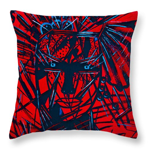 Abstract Throw Pillow featuring the painting Red Exotica by Natalie Holland