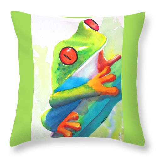 Frog Throw Pillow featuring the painting Red Eyed Tree Frog - Costa Rica by Carlin Blahnik CarlinArtWatercolor